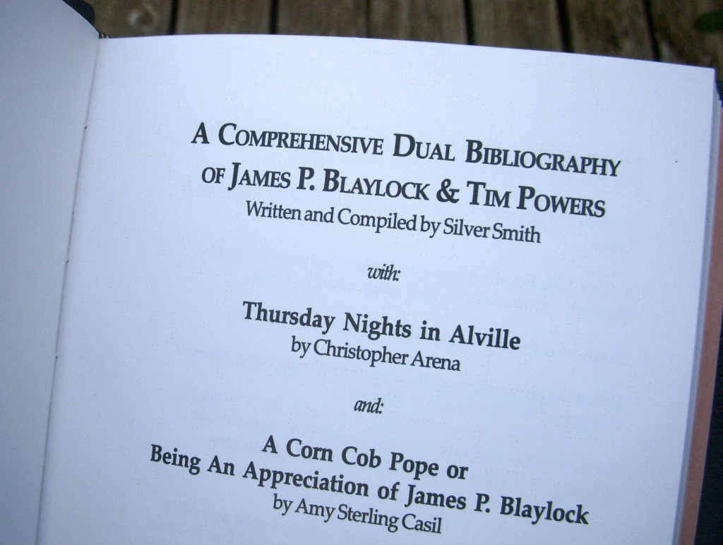 Title page of the James P. Blaylock and Tim Powers limited edition bibliography.