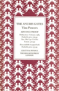 The Anubis Gates - Chatto and Windus Uncorrected Proof Advanced Reading Copy ARC