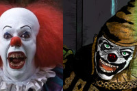 Stephen King's Pennywise the Clown from IT, versus Tim Powers' Horrabin. (Tim Curry as Pennywise on the left, and Horrabin detail illustration by artist Thaxssillissia on the right.)